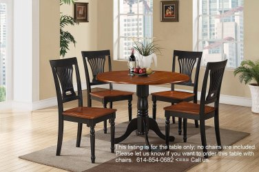 """42"""" Round Dublin drop-leaf pedestal kitchen table without chair in black and cherry SKU# DLT-BCH-TP"""