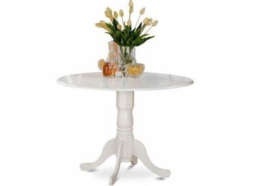 "42"" Round Dublin drop-leaf pedestal kitchen table without chair linen white SKU# DLT-WHI-TP"