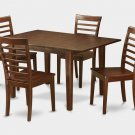 "Milan Dinette Kitchen Set, Table 36""x 54"" with 4 Chairs in Mahogany Finish SKU#: MILA5-MAH-W"