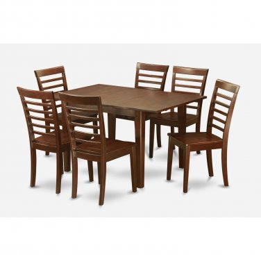 """Milan Dinette Kitchen Set, Table 36""""x 54"""" with 6 Chairs in Mahogany Finish SKU# MILA7-MAH-W"""