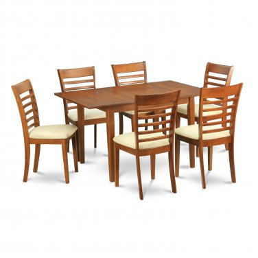 """Milan Dinette Kitchen Set, Table 36""""x 54"""" with 6 Chairs in Saddle Brown Finish SKU# MILA7-SBR-C"""