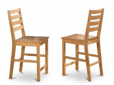"""SET OF 6 CAFE COUNTER HEIGHT WOOD SEAT CHAIRS, 24"""" SEAT HEIGHT BAR STOOL IN OAK, SKU: CFS-OAK-W"""