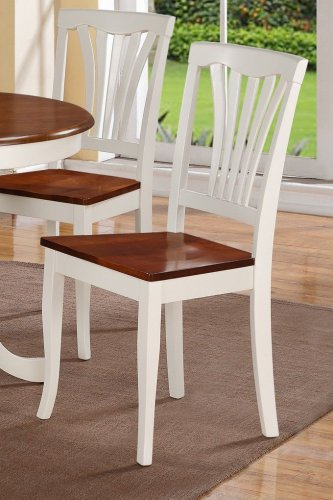 Set of 2 Avon dinette dining chairs with wooden seat in Buttermilk & Cherry Brown, SKU# AVC-WHI-W