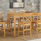 Capri counter height rectangular dining table + 4 wood chairs light oak SKU# CAPU5H-OAK-W