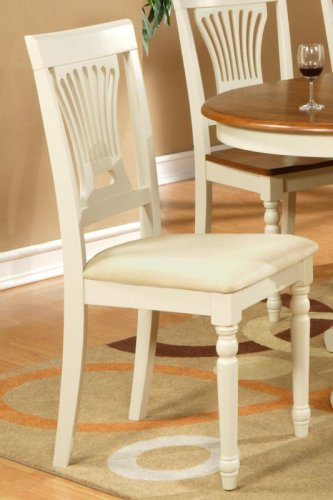 4 Plainville dining chairs with microfiber upholstered seat in buttermilk SKU# PVC-WHI-C