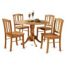 5PC Dublin Round Dinette Table w/ Drop Leaf & 4 Plain Wood Seat Chairs Light OAK. SKU: DLIN5-OAK-W