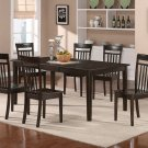 7pc Henley Dining Table with 6 Capri Wood Seat Chairs in Cappuccino. SKU#: HECA7-CAP-W