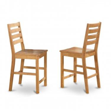 "Set of 4 Café 24"" counter height wood seat bar stool chairs in light oak, SKU# CFS-OAK-W"
