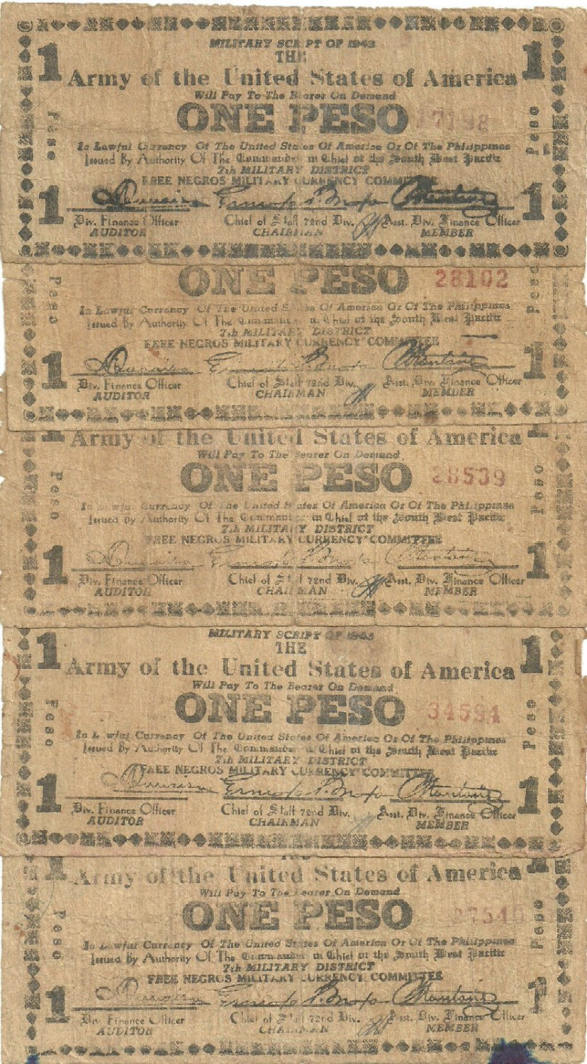 WWII 1943 7th Military Script ARMY of the USA S715 1 Peso Lot Scarce and RARE Range #1,001 to 41,756