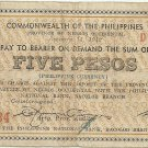 1942 PHILIPPINES 5 Pesos Negros Emergency Note. S637 Rare and Nice