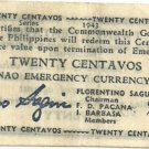WWII 1943 Philippines Mindanao 20c Emerg.Note S503 UNC Serial 280227