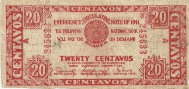 Philippines Iloilo S303 20 Centavos 1941 WW2 PNB Red XF Serial is 245,633