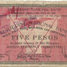 Philippines 1941 Iloilo 5 Pesos Emergency Circulating Note C/S S307 Serial 232,888 Plate P