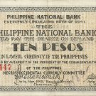 Philippines Negro S627 (a) 10 Pesos 1941 WW2 PNB 50 Printed 20,001 to 104,500 Serial is 22,447