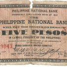 Philippines 1941 Negros Occidental 5 Pesos Note TYPE II S614 Range 5,001 to 10,000 Serial is 9,043