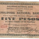 Philippine Emergency S615 TypeIII 1941 Negros Occidental 5 Pesos Note 5k Printed (14,229) Plate B