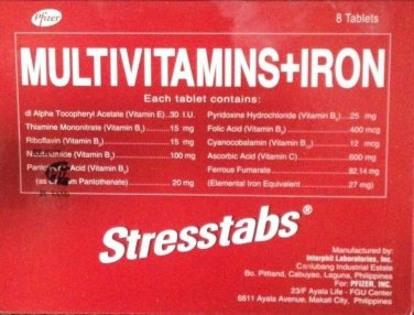 100 Sresstabs Multivitamins + Iron AntiStress Vitamin Philippine Formula Fresh Stock