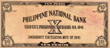 1941 Cebu Philippines S217 10 Pesos Emergency Currency Note C/S PNB #22,885