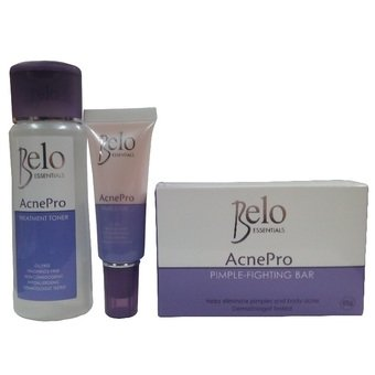Belo Essentials AcnePro Pimple Treatment System Soap Toner and Gel Kit