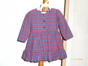 AFTER THE STORY RED AND BLUE CHECKED DRESS