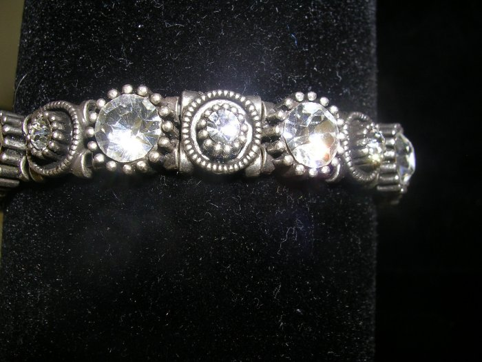 Silver and Black Rhinestone Stretch Bracelet,