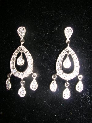 Sterling Silver CZ  Dangle Chandelier Earrings