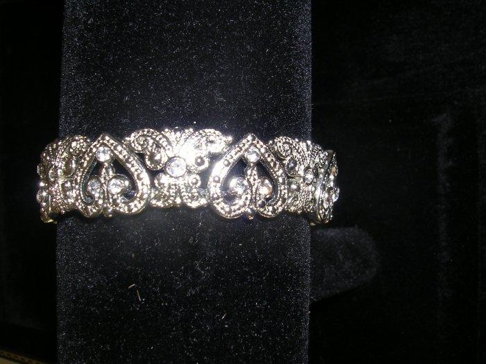 Silver and CZ all around hearts stretch bracelet