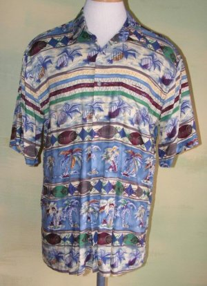 Pierre Cardin Aloha Hawaiian Shirt Pineapples Palms M