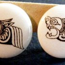 Small White Button Aztec / Bali Dragon Earrings Clip