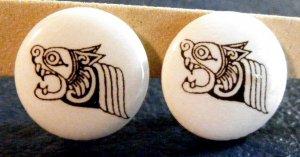 Small White Button Aztec / Bali Dragon Earrings Clip