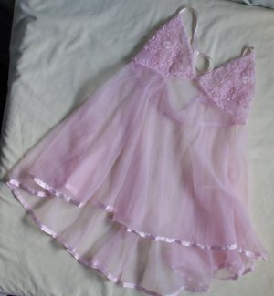 60S  70S Babydoll Soutache Pink Negligee Sheer  Xs 34 A
