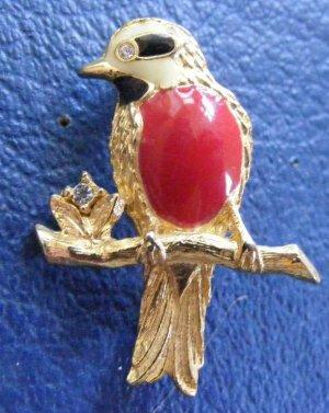 Bird Pin Gold Tone Enamel Rhinestone Red Black Cream