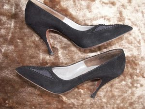 Fifties Bombshell Wicked Black Suede High Heel Shoes 6N