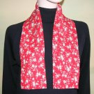 Double Sided Crepe Scarf Red Floral 38 X 4