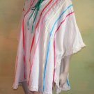 Mexican Kaftan Top Fly Away Ribbons Crinkled Cotton Os