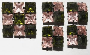 Pink Green Austrian Crystal Pin 2 Pr. Earrings Jappaned