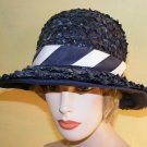 60s Cello Straw Sun Hat Nautical Lane Bryant Ladies S