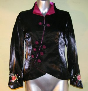 Laogudai Embroidered Shot Silk Jacket Roses Black 34