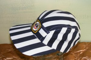 Cap Hat Black White Stipe Embroidered Anchor Patch S