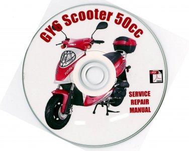 Scooter Z-BIKE XINGLING WANGYE BRANSON 50cc GY6 Service Repair Manual on CD
