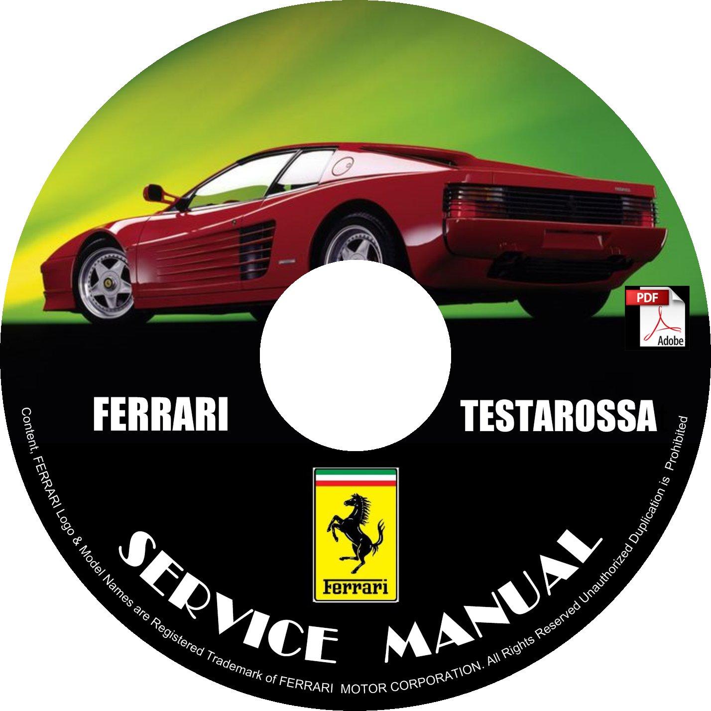 1986 Ferrari Testarossa Factory Service Repair Shop Manual on CD Fix Rebuilt