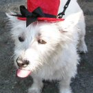 Top hats for dogs - Red  with black bow Medium Dog