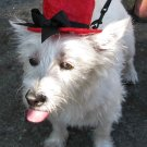 Top hats for dogs - Red  with black bow Large Dog
