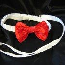 Velvet Bowtie and collar set - Red Medium dog
