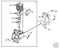 PART 25cc non clutch shortblock HOMELITE trimmer pump