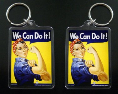"""ROSIE THE RIVETER  keychain / keyring """"We Can Do It!"""" women in the workforce"""