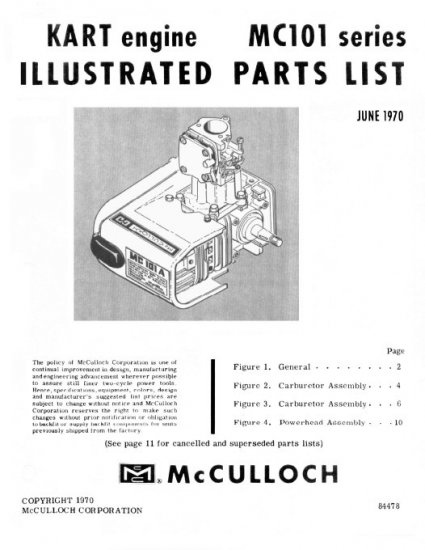 McCulloch MC101 Go-Kart Engine Parts Manual