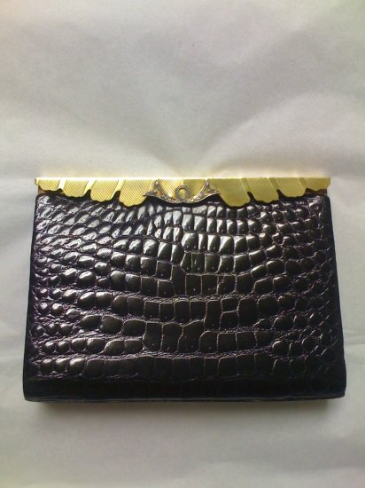 Coblentz Black Crocodile and Brass Evening Clutch