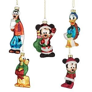 Disney Store Mickey & Friends 5-Pc.Mercury Ornament Set NEW