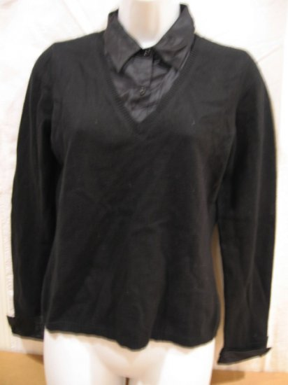 Women's black pullover with silk collar and cuffs,  size PP